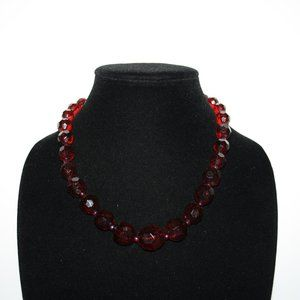 Deep ruby red necklace adjustable